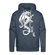 Hoodies & Sweatshirts ~ Men's Hoodie ~ Dragon hoodie - olive/white