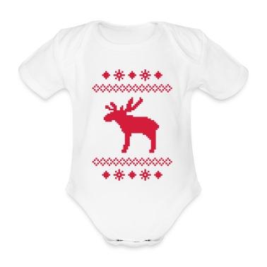 moose caribou reindeer deer christmas norwegian knitting pattern rudolph rudolf winter snowflake snow crystal frost snow flower Baby Bodysuits