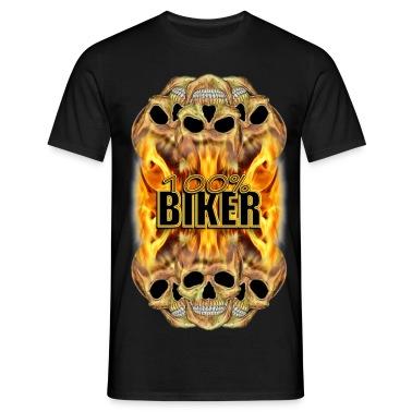 Flaming Skulls 100% Biker T-Shirts