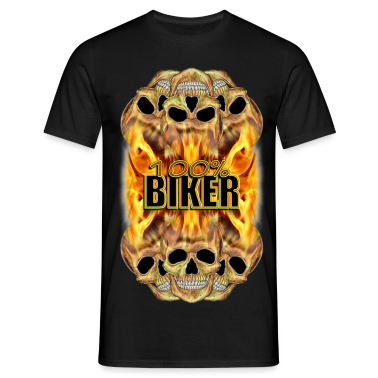 Flaming Skulls 100% Biker T-Shirts