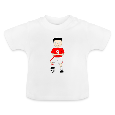 Cartoon Football Player in Red and White Strip - Baby T-Shirt