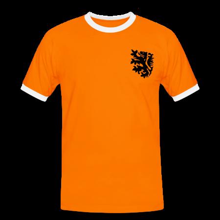 oranje polo retro leeuw met naam en rugnummer naranja/blanco