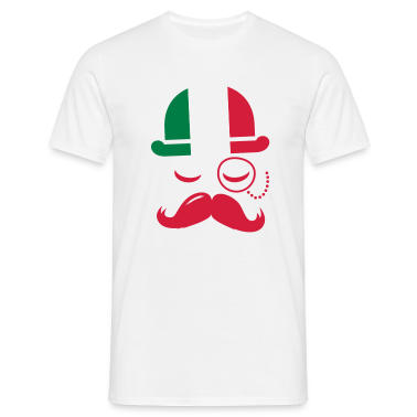 Italy fashionable retro iconic gentleman with flag and Moustache | sports | olympics | football T-Shirts