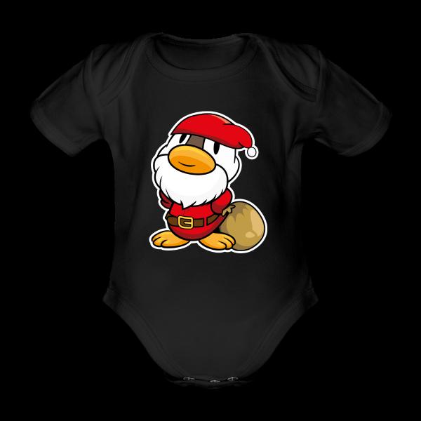 69f040d8e5 Lustige kleine Ente als Weihnachtsmann Baby Bodys - Baby Bio-Kurzarm-Body