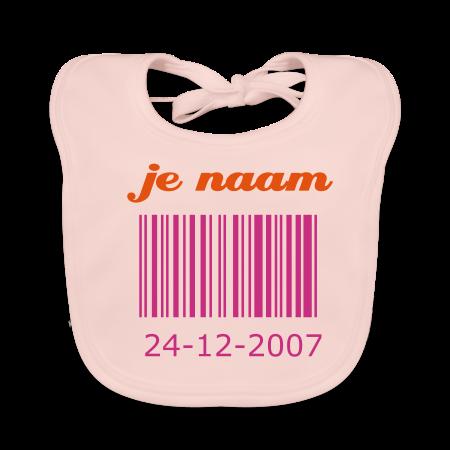 slabbetje streepjescode met je geboortedatum roze