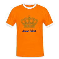 oranje koninginnedag shirt met gouden kroon en eigen tekst