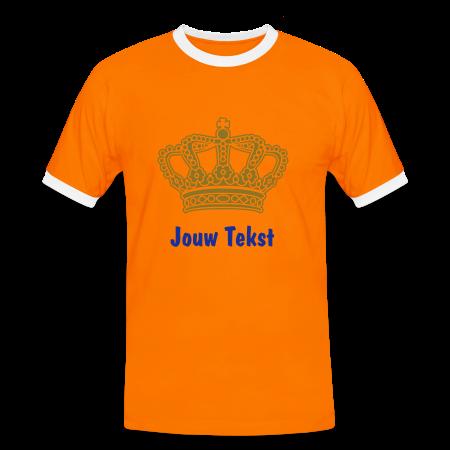 oranje koninginnedag shirt met gouden kroon en eigen tekst naranja/blanco