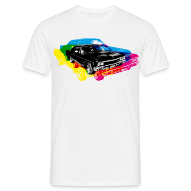 White Muscle Car - Retro - CMYK Men's Tees