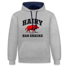 Hairy Bar Snacks College Logo Design - Contrast Colour Hoodie