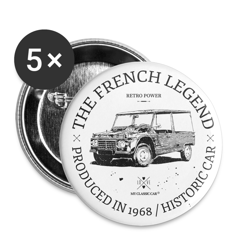 Mehari - Lot de 5 grands badges (56 mm)