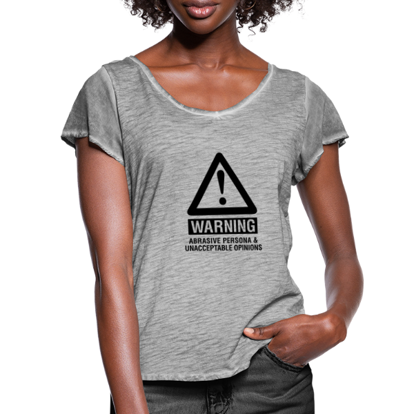 warning abrasive persona - Women's Ruffle T-Shirt