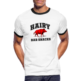 Hairy Bar Snacks College Logo Design - Men's Ringer Shirt