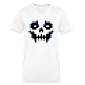 pixel-skull - Men's Organic V-Neck T-Shirt by Stanley & Stella